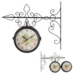 """Trademark Innovations - 7.5"""" Double Sided Vintage Wrought Iron Wall Hanging Clock - Add to your home's decor with this vintage double sided wall hanging clock.  The clock on the hanger measures 18""""L x 3.5""""W x 16""""H and the clock face is 7.5"""" in diameter.  The black iron hanger has a unique scroll design and is easy to hang.  The clock requires 2 AA batteries (not included).  By Trademark Innovations."""