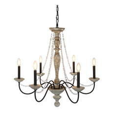 Elle B   Jane French Country Rustic 6 Light Distressed Wood Chandelier,  Crystal