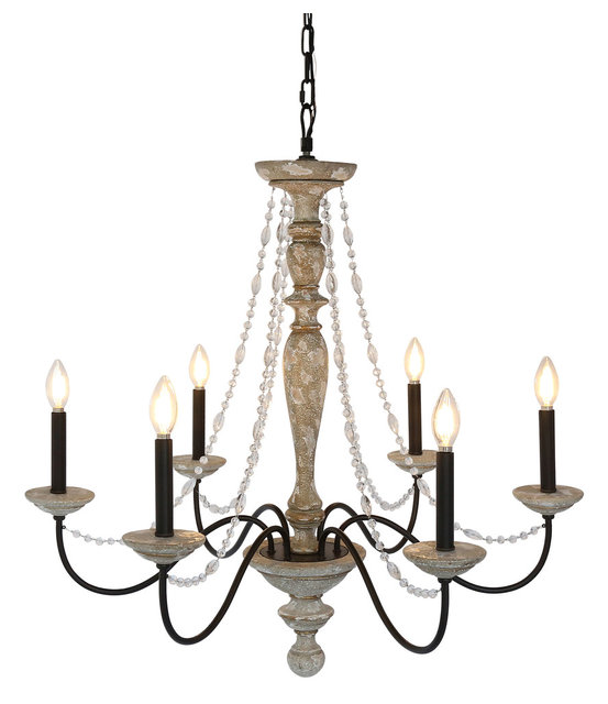 Distressed Wood Chandelier: Jane French Country Rustic 6-Light Distressed Wood