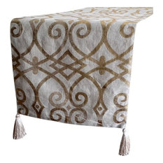 """Designer Decorative Table Runners, Natural Beige Gold, 16""""x108"""", Cotton"""