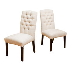 GDF Studio Clark Soft Fabric Dining Chairs, Ivory, Set of 2