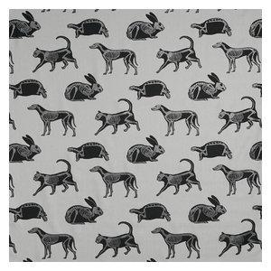 "PaperBoy Interiors ""Animal Magic"" Fabric, Grey and Black Glitter"