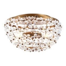 "Isabelle 15.5"" Metal and Acrylic Led Flush Mount, Antique Gold"