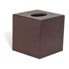 Genuine Leather Bathroom Tissue Box Cover for Vanity Countertop, Chestnut