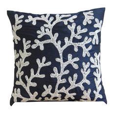 """Navy Blue Coral Design Pillow Cover, 20""""x20"""" Silk Pillowcase, Navy Corals"""