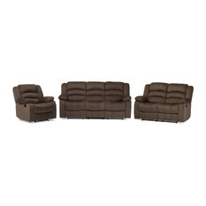 Hollace Taupe Microsuede Sofa Loveseat and Chair Set With 5 Recliners