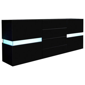 Sideboard Chest of Drawers, Black MDF With 2-Door and 4-Drawer, With LED Lights