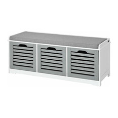 Storage Bench, White MDF With 3-Drawer and Grey Padded Removable Cushion
