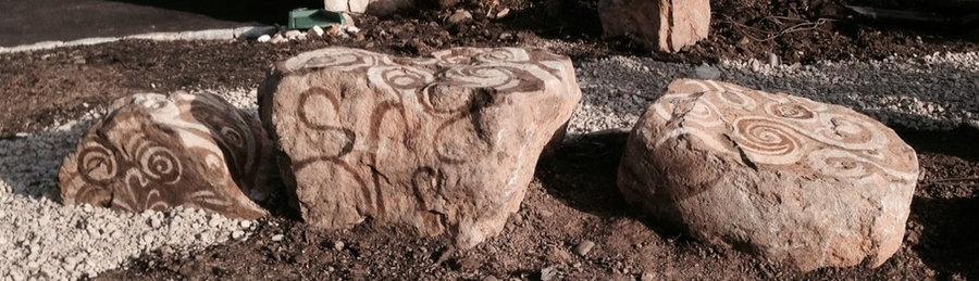 Stone Landscape feature created along a garden path- in progress