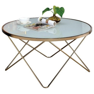 Sensational Sunpan 103515 Skyy Coffee Table Round Antique Brass White Evergreenethics Interior Chair Design Evergreenethicsorg
