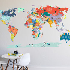 50 most popular contemporary wall decals for 2018 houzz the lovely wall co world map interactive map wall decal wall decals gumiabroncs Image collections
