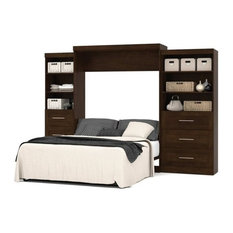 Pemberly Row Queen Wall Bed with Storage in Chocolate