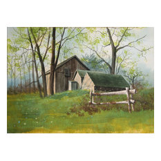 James Feriola, Spring Farm, Watercolor Painting in Black Ink