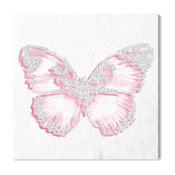"Oliver Gal Olivia's Easel ""Pink Butterfly"" Canvas Art, White, 30""x30"""