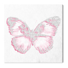 """Oliver Gal Olivia's Easel """"Pink Butterfly"""" Canvas Art, White, 16""""x16"""""""