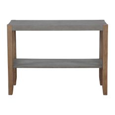 Alaterre Newport 40L Gray Faux Concrete And Wood Sofa/TV Console Table W Shelf