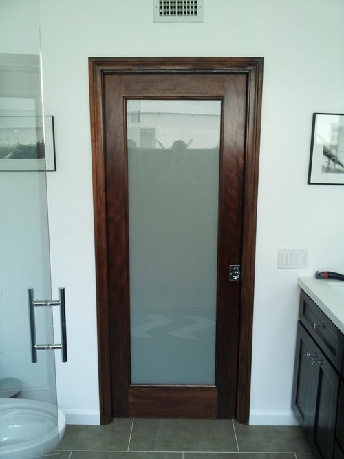 1 Lite French Wood Door With Laminated Glass Restroom Or