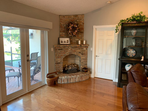 Stacked Stone Over Brick Fireplace, How To Reface A Brick Fireplace With Stacked Stone