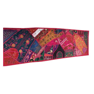 Mogul Interior - Consigned Antique Fabric, Pink Sari Patchwork Embroidered Table Runner - Table Runners
