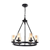 6-Light Antique Black Industrial Wheel Chandelier With Clear Amber Glass Shades