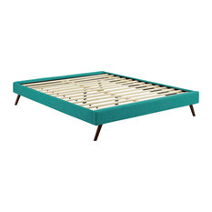 Loryn King Fabric Bed Frame with Round Splayed Legs, Teal