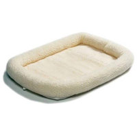 "Midwest 40248 Quiet Time Bolster Pet Bed, White Fleece, 48""X30"""