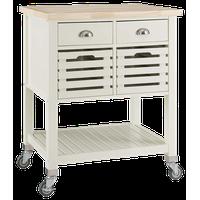 Multifunctional Kitchen Cart, Bone White Finish With Wood Top and Locking Wheels