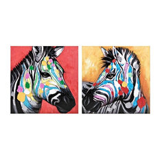 "2-Piece ""Colorful Zebra"" Wall Art"