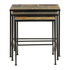 3 Piece Nesting Tables With Slate Tops by 4D Concepts