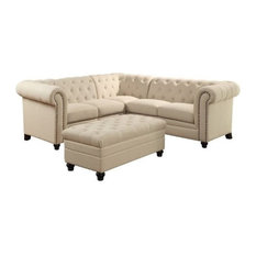 Coaster Home Furnishings - Coaster Roy Button Tufted Sectional With Ottoman, Oatmeal - Sectional Sofas