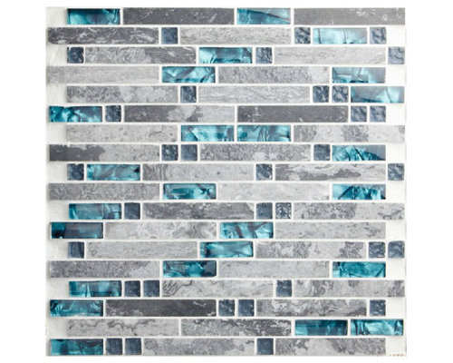 stone sea glass blue gray marble striped interlocking kitchen tile