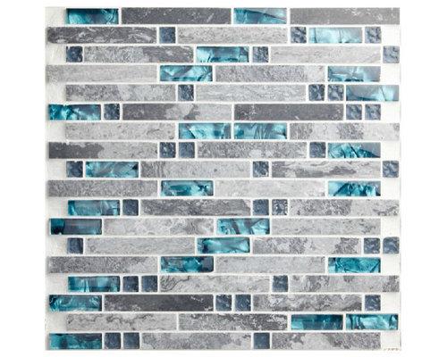 stone sea glass blue gray marble striped interlocking