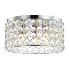 "Ellen 15"" 3-Light Crystal and Metal LED Flush Mount, Chrome"