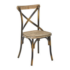 Office Star Products   Work Smart Somerset Chair With Vintage Style Seat,  Walnut And