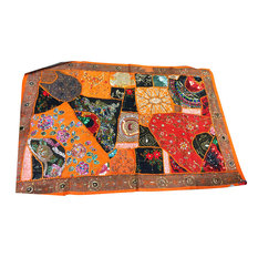 Mogul interior - Consigned Indian Tapestry Handmade Gray Orange Sequins - Tapestries