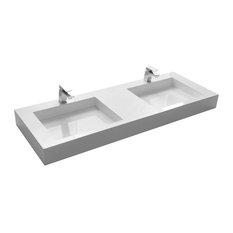 """ADM Rectangular Countertop Sink, White, 59"""", Glossy White"""