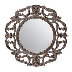 "Alba White Carved Mirror 24"", Gray, 24 Inch"