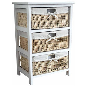 Traditional  Storage Cabinet in Wooden Frame With 3 Wicker Baskets