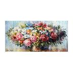 Leonid Afremov, Spring Flower Arrangement With Roses, Oil Painting