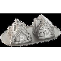 Nordic Ware Platinum Bakeware Gingerbread House Dual Shapes Cake Pan