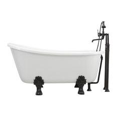 "'GRITTI' CoreAcryl WHITE Acrylic Swedish Slipper Clawfoot Tub Package, 54"" Lengt"