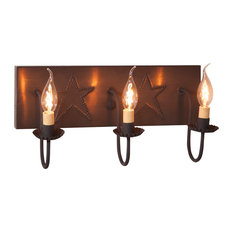 3 Arm Vanity Light With Stars, Blackened Tin