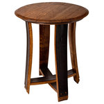 """Alpine Wine Design - Barrel Top Accent Table - Our accent tables are hand-crafted from authentic oak wine barrels, accenting both the barrel top and the gorgeous, wine-infused side staves.  Each unique piece is a functional work of art that will lend years of wine country beauty to your space.   Provincial stain.  Table top is approximately 22"""" in diameter and stands 24"""" tall.  Artisan crafted in Colorado."""