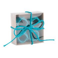Set of 4 Classic Braided Jute Burlap Napkin Rings, Turquoise