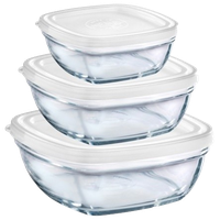 Duralex Lys Square Stackable Bowl With White Lid, Set Of 3 Sizes