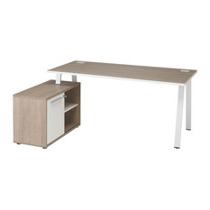 Arpe Desk With Left-Facing Locking Filing Cabinet, Wood Finish Table Top
