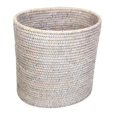 White Rattan Waste Basket Oval