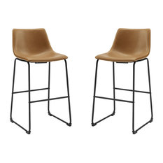 30-inch Faux Leather Barstool 2 Pack Whiskey Brown