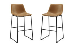 """30"""" Faux Leather Barstool 2 pack, Whiskey Brown"""