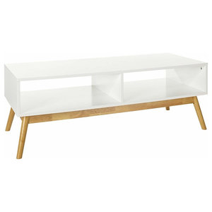 Modern TV Stand in White Finished Wood with Natural Oak Legs and Open Case